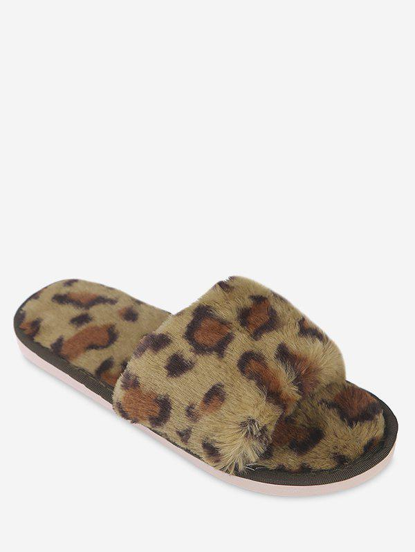 Outfits Leopard Print Faux Fur Slippers