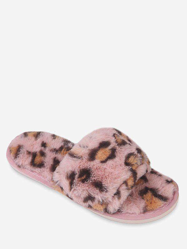 Latest Leopard Print Faux Fur Slippers
