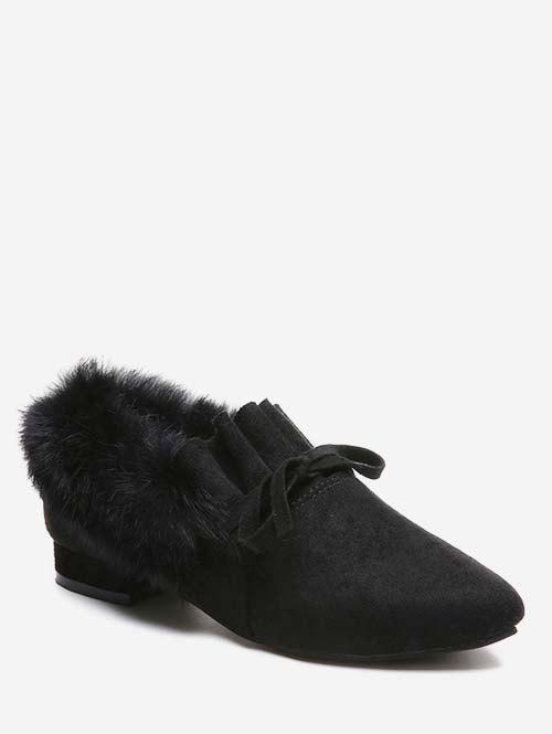 Trendy Bow Ruffles Faux Fur Trim Loafer Shoes