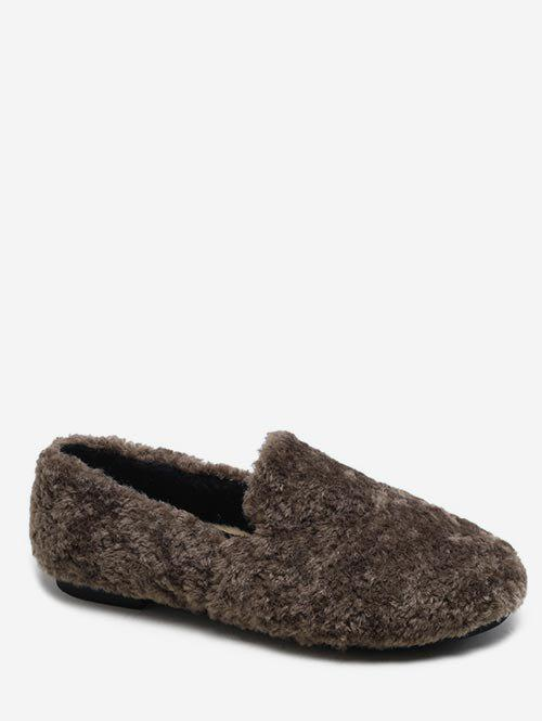 Store Faux Fur Winter Loafer Shoes