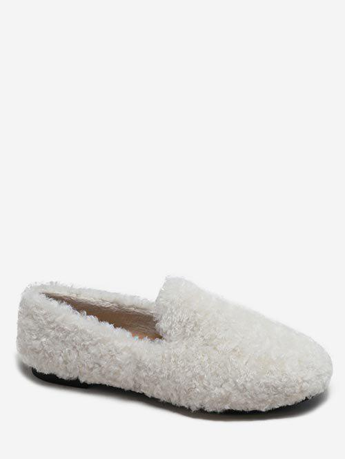 Chic Faux Fur Winter Loafer Shoes