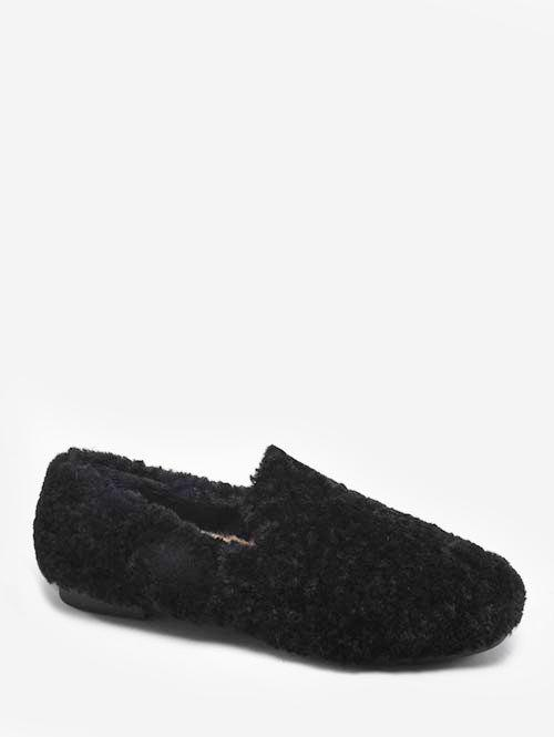 Fashion Faux Fur Winter Loafer Shoes