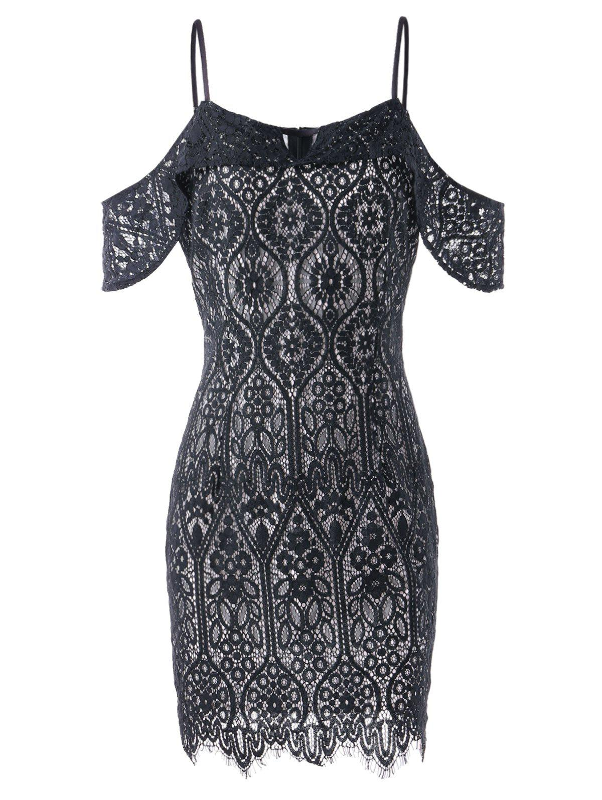 Sale Keyhole Open Shoulder Lace Bodycon Dress