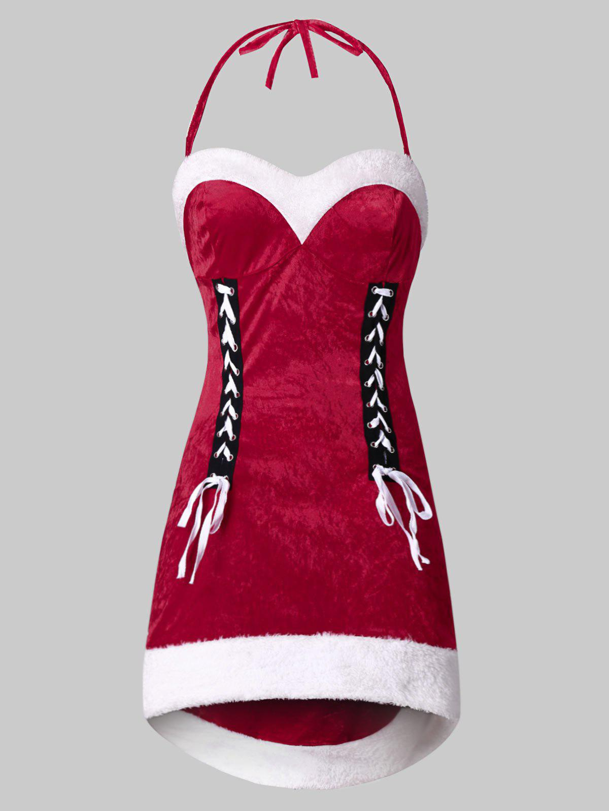 Cheap Plus Size Halter Velvet Christmas Santa Claus Dress