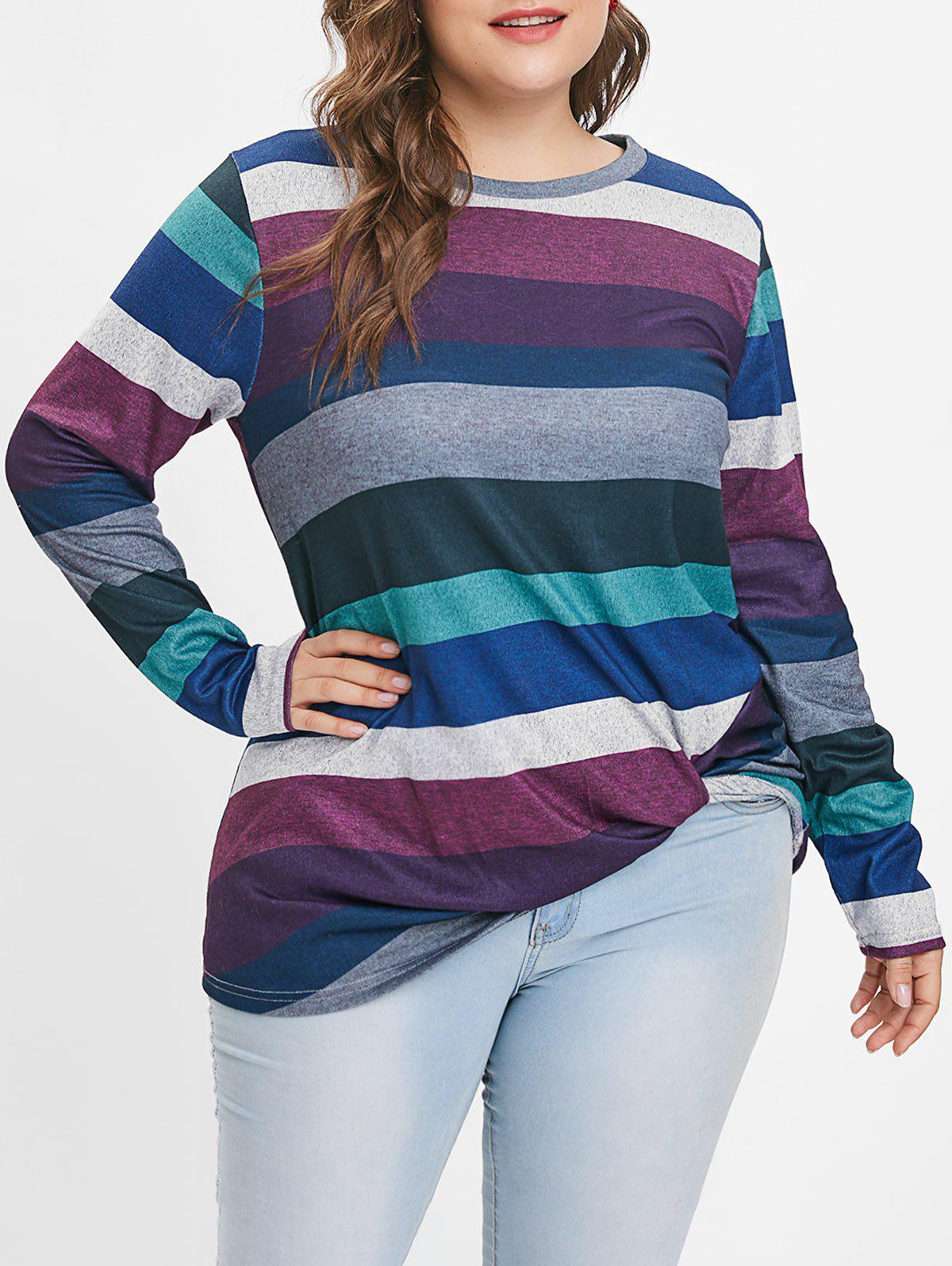 Trendy Plus Size Striped Panel Twist T-shirt