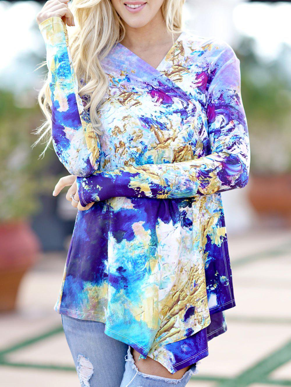Hot Abstract Print Long Sleeve Cardigan