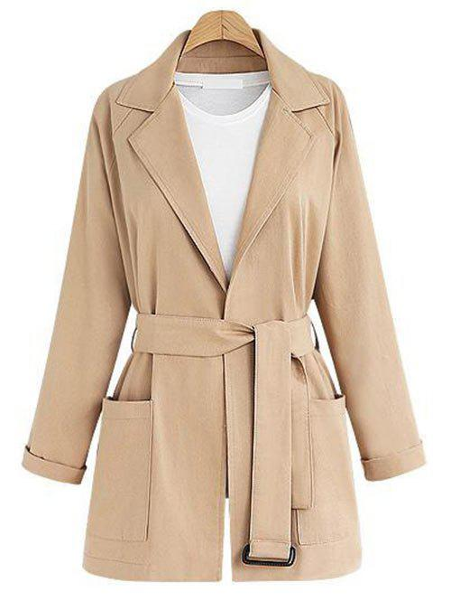 Shops Plus Size Lapel Neck Belted Coat