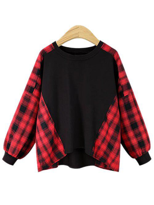 New Plus Size Tartan Panel Round Neck Sweatshirt