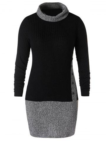 Plus Size Turtleneck Contrast Mini Dress