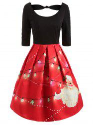 Half Sleeve Christmas Santa Print Dress -