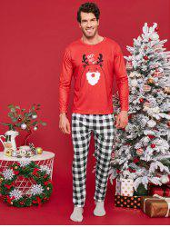 Christmas Deer Printed Plaid Pajama Set for Family -