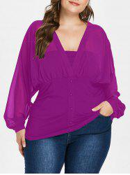 Plunge Plus Size Button Embellished Blouse -