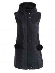 Long Gilet Rembourré Zip Up -