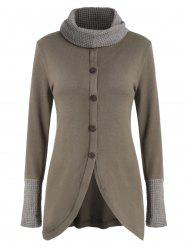 Cowl Neck Button Asymmetrical Knitwear -