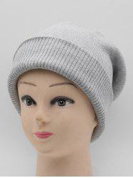 Flanging Solid Color Warm Knitted Beanie -