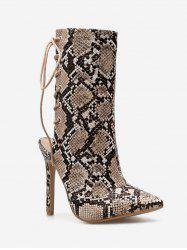 Snake Print Lacing Back Heeled Boots -