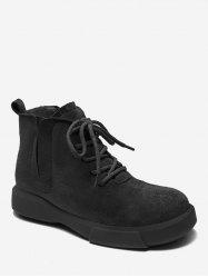 V Cut Lacing Ankle Boots -