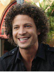 Short Side Bang Colormix Fluffy Curly Synthetic Men Wig -