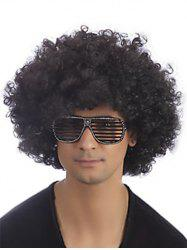 Side Bang Short Shaggy Afro Curly Synthetic Wig -