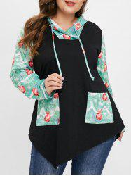 Christmas Plus Size Jingle Bell Print Front Pockets Hoodie -