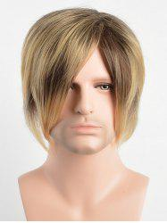 Short Capless Side Bang Layer Straight Synthetic Wig -