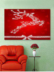 Christmas Elk Bowknot Print Wall Art Sticker -