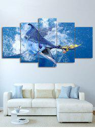 Shark Print Split Unframed Canvas Paintings -