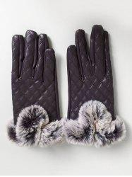 Rhombus Full Finger Faux Fur Gloves -
