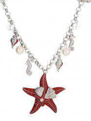 Starfish Shape Faux Pearl Chain Necklace -