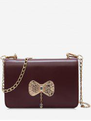 Rhinestoned Bowknot Pattern Crossbody Bag -