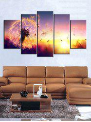 Dandelion Print Split Unframed Canvas Paintings -