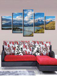 Snow Mountain Lake Print Split Unframed Canvas Paintings -
