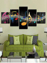 Music Note Print Split Unframed Canvas Paintings -