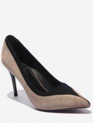 Contrast Pointed Toe Suede Pumps -