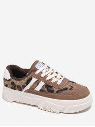 Side Stripe Leopard Skate Sneakers -
