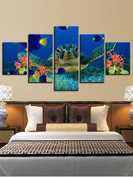 Sea Turtle Print Split Unframed Canvas Paintings -
