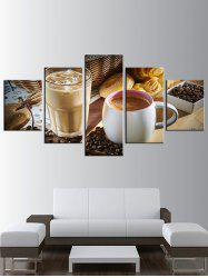 Coffee Print Split Unframed Canvas Paintings -