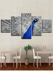 Peacock Printed Split Unframed Canvas Paintings -