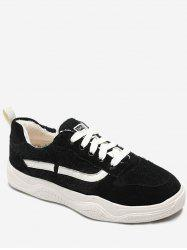 Stripe Print Fuzzy Lace Up Sneakers -
