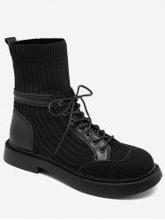 Lace Up Sock Mid Calf Boots -