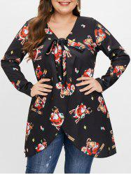 Plus Size Knot Slit Christmas Graphic Longline Tee -