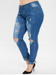 Plus Size Ripped Jeans with Holes -