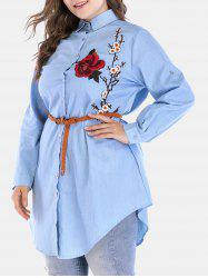 Plus Size Longline Chambray Shirt with Embroidered -