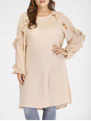 Plus Size Raglan Sleeves Dress with Ruffles -