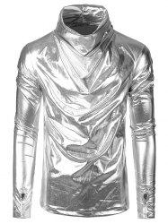 Long Sleeves Solid Color Metallic Shirt -