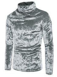 Metallic Velour Long Sleeves Shirt -