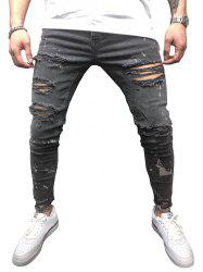 Casual Destroy Wash Ripped Jeans -