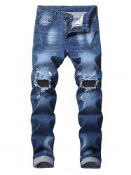 Long Bleach Wash Ripped Jeans -