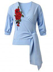 Flower Embroidered Belted Surplice Top -