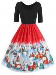 Plus Size Vintage Snowflake Christmas Flare Dress -